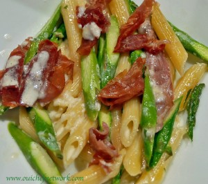 Penne with Asparagus, Lemon and Proscuitto