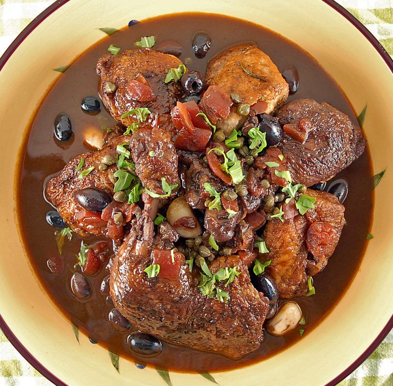 Wine Braised Chicken with Tomatoes and Olives