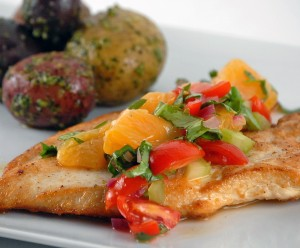 Chicken Paillards with Orange, Cilantro and Basil Salsa