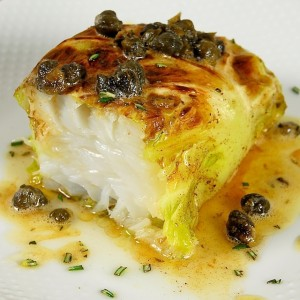 Cod and Cabbage Purses with Lemon-Caper Brown Butter Sauce