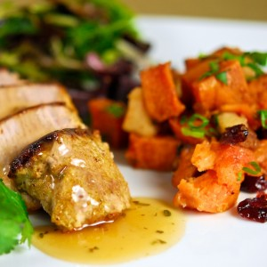Curried Pork Tenderloin with Roasted Maple-Ginger Sweet Potatoes and Apples