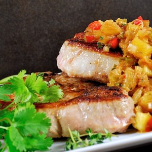 Cumin Spiced Pork Chops with Ginger-Pineapple Relish