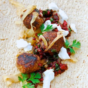 Lamb Köfte with Yogurt Sauce and Muhammara