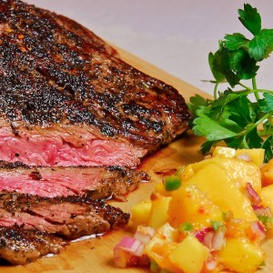 Smoked-Tea Rubbed Steak with Mango Salsa