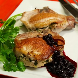 Love Your Heart and Cook These Herb Stuffed Pork Chops with Blueberry Gastrique
