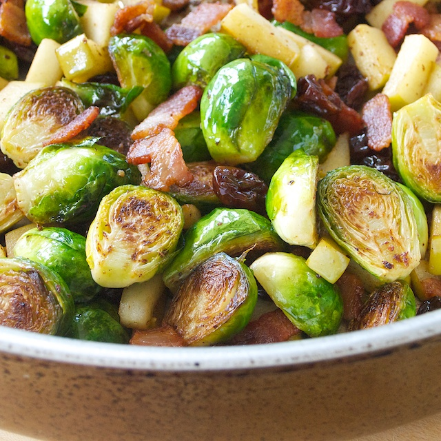 Brussels Sprouts with Bacon and Apples - Oui, Chef