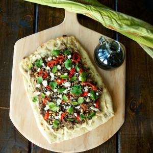 Lamb Flatbreads with Hummus, Herbs and Feta