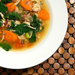 Chicken Barley Soup with Kale and Edamame