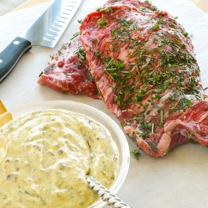 Skirt Steak with Black Olive Aioli