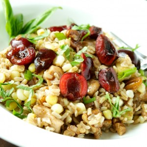 Brown Rice Salad with Chicken, Corn and Cherries