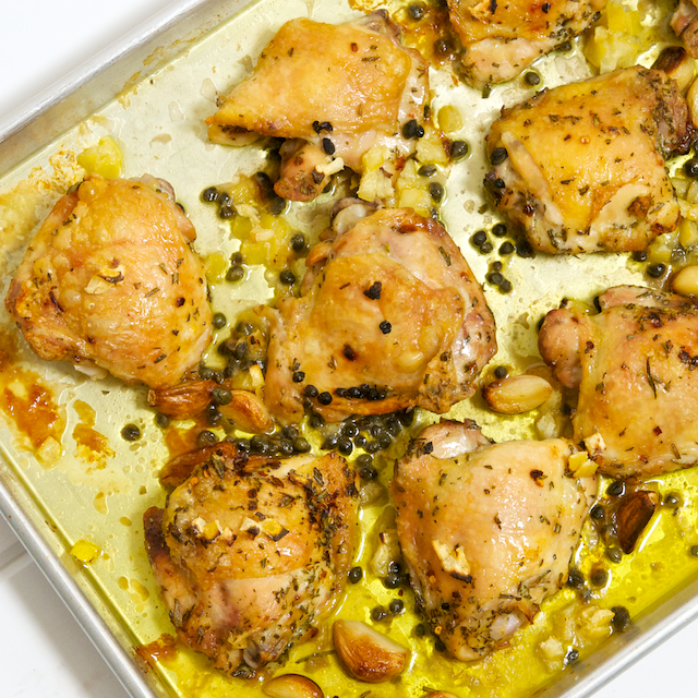 ... chicken with braised chicken thighs with roasted chicken thighs