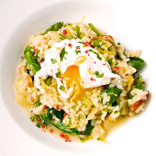 Spring Risotto with Poached Eggs