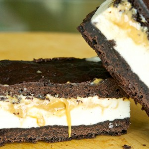 Brownie and Dulce de Leche Ice Cream Sandwiches