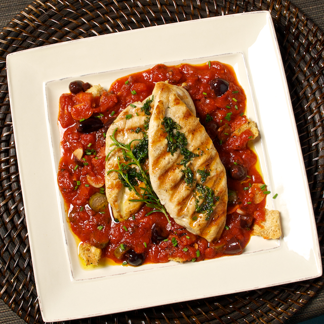 Rosemary Chicken With Caper Olive Tomato Sauce
