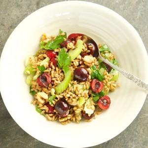 Farro, Cherry and Walnut Salad