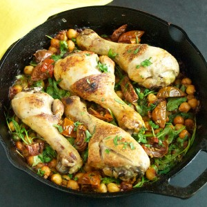 Chicken with Spicy Chickpeas and Arugula