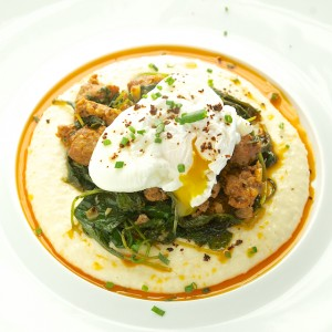 Gouda Grits with Chourico Kale and a Poached Egg