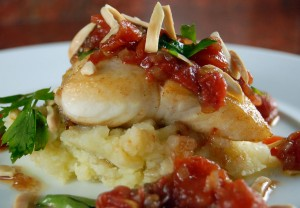 Roasted Halibut with Tomato – Shallot Salsa