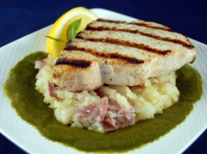 Grilled Swordfish with Green Caper Sauce