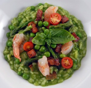 Garden Green Risotto with Shrimp and Guanciale