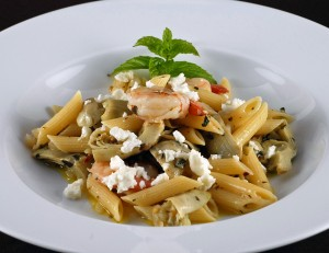 Penne with Shrimp, Artichokes and Feta