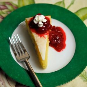 Lemon Cornmeal Cake with Cranberry-Raspberry Sauce