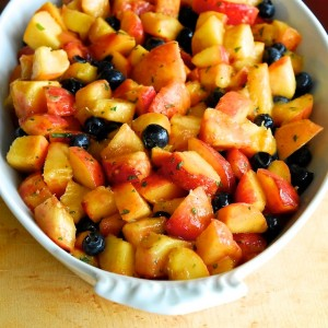 Peach and Blueberry Crumble with Tarragon