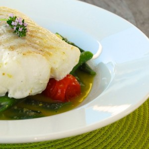 Cod with Roasted Tomatoes, Beans and Green Olive Broth