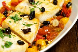 Halibut with Tomatoes and Oil-Cured Olives, A Mediterranean Escape