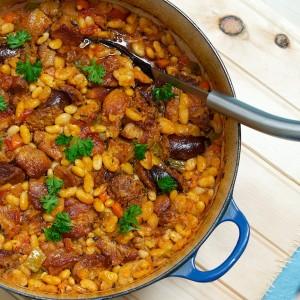 Maple-Bourbon Pork and Beans