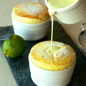 Mango Soufflé with Coconut-Lime Crème Anglaise
