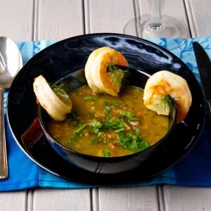 Curried Lentil Soup with Shrimp