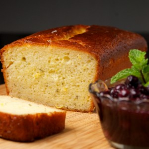 Lemon Thyme Cake with Blueberry Compote