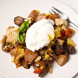 Chicken Hash with Poached Eggs