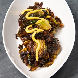 Fried Brussels Sprouts with Curried Sriracha Aioli
