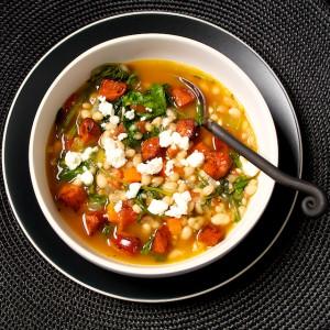 White Bean Stew with Bitter Greens and Chorizo