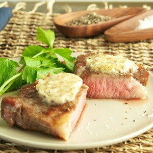 Steak with Blue Cheese Bacon Butter