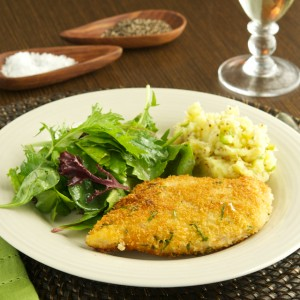 Chicken Schnitzel and Smashed Mustard Potatoes