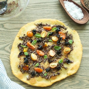 Man'oushe with Za'atar, Tomatoes and Olives