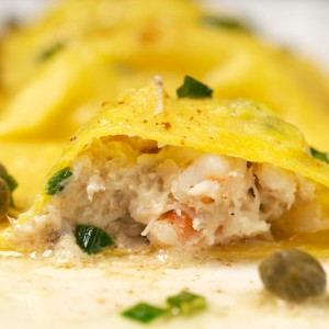 Seafood Ravioli with Brown Butter Caper Sauce
